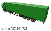 Купить «Large green truck with a semitrailer. Template for placing graphics. 3d rendering.», иллюстрация № 27261728 (c) Владимир Хапаев / Фотобанк Лори