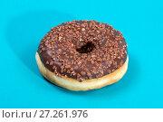 Купить «Пончик,  покрытый сладкой шоколадной глазурью на голубом фоне», фото № 27261976, снято 15 февраля 2017 г. (c) V.Ivantsov / Фотобанк Лори