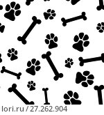 Купить «Seamless background - pet paw print and bone», иллюстрация № 27262904 (c) Сергей Лаврентьев / Фотобанк Лори