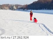 Купить «Mother and daughter in snowy winter park», фото № 27262924, снято 25 декабря 2010 г. (c) Михаил Лавренов / Фотобанк Лори