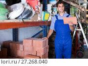 Купить «Shop assistant is checking quality of tiles», фото № 27268040, снято 26 июля 2017 г. (c) Яков Филимонов / Фотобанк Лори