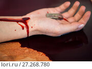 Купить «dead woman hand in blood on floor at crime scene», фото № 27268780, снято 5 мая 2017 г. (c) Syda Productions / Фотобанк Лори