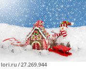 Купить «Christmas decoration in snow», фото № 27269944, снято 3 февраля 2016 г. (c) ElenArt / Фотобанк Лори