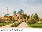 Купить «Shakhrisabz, Uzbekistan. Ancient complex Dorut Tilavat XIV-XV century and new park», фото № 27270632, снято 16 октября 2016 г. (c) Юлия Бабкина / Фотобанк Лори