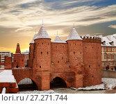 Купить «Варшавский Барбакан - средневековые укрепления в Варшаве, Польша», фото № 27271744, снято 27 декабря 2014 г. (c) Наталья Волкова / Фотобанк Лори