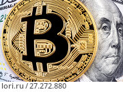 Купить «Cryptocurrency of the Bitcoin with Benjamin Franklin portrait from one hundred american dollars. Business concept of worldwide cryptocurrency», фото № 27272880, снято 30 ноября 2017 г. (c) FotograFF / Фотобанк Лори