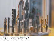 Купить «Set of tools - drills for metal - metal workshop», фото № 27273572, снято 7 декабря 2017 г. (c) Константин Шишкин / Фотобанк Лори