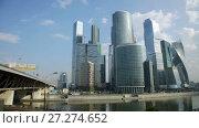 Купить «business complex of moscow city with modern futuristic architecture», видеоролик № 27274652, снято 22 августа 2016 г. (c) Яков Филимонов / Фотобанк Лори