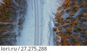 Купить «Полет над железнодорожным полотном в заснеженном лесу», видеоролик № 27275288, снято 27 ноября 2017 г. (c) Кекяляйнен Андрей / Фотобанк Лори