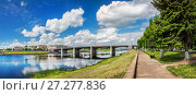 Купить «Волга и мост в Твери bridge across the Volga in Tver», фото № 27277836, снято 10 июня 2017 г. (c) Baturina Yuliya / Фотобанк Лори
