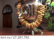 Metal samovar close-up. Стоковое фото, фотограф Андрей Зарин / Фотобанк Лори