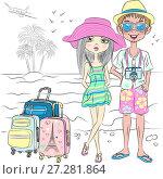 Купить «Vector hipster traveler couple on the sea beach», иллюстрация № 27281864 (c) Коваленкова Ольга / Фотобанк Лори