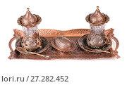 Купить «Turkish tea set. Ottoman teacup with traditional arabic ornaments on white background», фото № 27282452, снято 27 декабря 2015 г. (c) Евгений Ткачёв / Фотобанк Лори