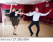 Купить «People practicing vigorous jive», фото № 27283004, снято 24 мая 2017 г. (c) Яков Филимонов / Фотобанк Лори