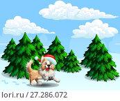 Купить «Веселый щенок породы бордер колли бежевого цвета в шапке Санта Клауса бежит по снегу на фоне елового леса и голубого неба  облаками. Иллюстрация в мультипликационном стиле», иллюстрация № 27286072 (c) Анастасия Некрасова / Фотобанк Лори