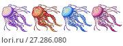 Купить «Набор медуз с щупальцами сиреневого, оранжевого, голубого и розового цветов изолированно на белом фоне. Морское животное, иллюстрация в мультипликационном стиле», иллюстрация № 27286080 (c) Анастасия Некрасова / Фотобанк Лори