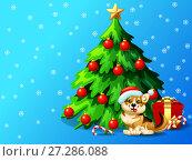 Купить «Новогодний фон голубого цвета со снежинками, украшенной шарами и звездой елкой, подарками и коричнево-желтой собакой породы вельш корги в шапке санта клауса. Иллюстрация в мультипликационном стиле.», иллюстрация № 27286088 (c) Анастасия Некрасова / Фотобанк Лори