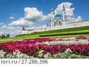 Купить «Цветочный рай у Казанского Кремля», фото № 27286396, снято 21 июля 2015 г. (c) Baturina Yuliya / Фотобанк Лори