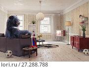 Купить «The Russian bear as the soccer fan», фото № 27288788, снято 20 апреля 2018 г. (c) Виктор Застольский / Фотобанк Лори