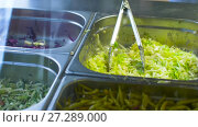 Купить «vegetable salads or stuffing in steel containers», видеоролик № 27289000, снято 10 декабря 2017 г. (c) Syda Productions / Фотобанк Лори