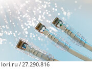 Купить «Closeup of RJ45 UTP LAN on the background of optical fibers with blurred lights», фото № 27290816, снято 19 декабря 2018 г. (c) Mikhail Starodubov / Фотобанк Лори