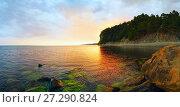 Купить «Evening landscape of the sea. Panorama», фото № 27290824, снято 18 июня 2017 г. (c) Алексей Маринченко / Фотобанк Лори
