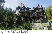 Купить «View of Pelisor Castle in Carpathian Mountains, near Sinaia, Romania», видеоролик № 27294080, снято 19 октября 2017 г. (c) Яков Филимонов / Фотобанк Лори