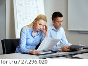Купить «business people with papers working at office», фото № 27296020, снято 25 октября 2014 г. (c) Syda Productions / Фотобанк Лори