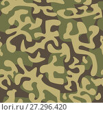 Купить «Seamless camouflage pattern in green tones», иллюстрация № 27296420 (c) Сергей Лаврентьев / Фотобанк Лори