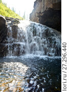 Купить «Плато Путорана, водопад в контровом свете», фото № 27296440, снято 3 августа 2015 г. (c) Сергей Дрозд / Фотобанк Лори