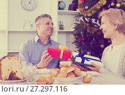 Купить «Mature couple give Christmas gifts», фото № 27297116, снято 19 марта 2019 г. (c) Яков Филимонов / Фотобанк Лори