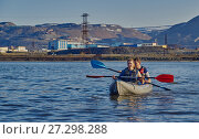 Купить «Norilsk, Russia - June 20, 2017: a guy and a girl floating on a kayak», фото № 27298288, снято 20 июня 2017 г. (c) Александр Сергеевич / Фотобанк Лори