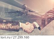 Купить «Handshake in business trip», фото № 27299160, снято 23 января 2019 г. (c) Яков Филимонов / Фотобанк Лори