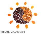 Купить «Солнце, выложенное из белого и чёрного изюма в виде символа инь-янь и лучей из кураги. Натюрморт из пищевых продуктов», фото № 27299364, снято 10 декабря 2017 г. (c) Максим Мицун / Фотобанк Лори