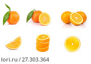 whole and sliced orange fruits isolated. Стоковое фото, фотограф Александр Лычагин / Фотобанк Лори