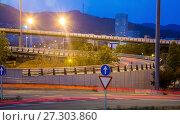 Купить «View of city highway in dusk with trace of blurred headlights», фото № 27303860, снято 20 июля 2017 г. (c) Яков Филимонов / Фотобанк Лори