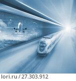 Купить «Speed of train and plane traveling», фото № 27303912, снято 20 января 2018 г. (c) Яков Филимонов / Фотобанк Лори