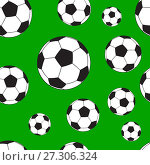 Купить «Seamless pattern with football balls», иллюстрация № 27306324 (c) Сергей Лаврентьев / Фотобанк Лори