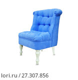 Купить «Vintage soft chair from blue suede isolated over white», фото № 27307856, снято 25 мая 2017 г. (c) Курганов Александр / Фотобанк Лори