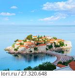 Купить «The morning view of Sveti Stefan sea islet (Montenegro)», фото № 27320648, снято 22 июня 2012 г. (c) Юрий Брыкайло / Фотобанк Лори