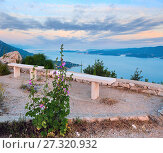 Купить «Observation area and sea sunset (Croatia)», фото № 27320932, снято 20 июня 2012 г. (c) Юрий Брыкайло / Фотобанк Лори