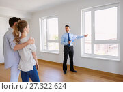 Купить «realtor with clipboard and couple at new home», фото № 27322624, снято 4 июня 2017 г. (c) Syda Productions / Фотобанк Лори