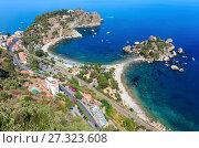 Купить «Taormina view from up, Sicily», фото № 27323608, снято 11 июня 2017 г. (c) Юрий Брыкайло / Фотобанк Лори