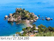 Купить «Taormina Isola Bella islet, Sicily», фото № 27324280, снято 11 июня 2017 г. (c) Юрий Брыкайло / Фотобанк Лори