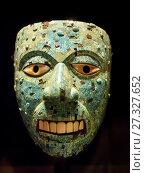 Mask Xiuhtecuhtli, Tourquise Lord. Aztec 16th century. Стоковое фото, фотограф Stefano Ravera / age Fotostock / Фотобанк Лори