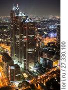 Купить «Здание Park Hyatt Tokyo в центральном деловом районе Shinjuku в ночное время. Токио, Япония», фото № 27330100, снято 14 апреля 2013 г. (c) Кекяляйнен Андрей / Фотобанк Лори