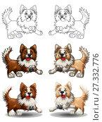 Купить «Набор веселых собак породы бордер колли коричневого и бежевого, желтого цвета. Цветной, цветной с контуром и контурный варианты. Иллюстрация в мультипликационном стиле, изолированно на белом фоне, страница для раскраски», иллюстрация № 27332776 (c) Анастасия Некрасова / Фотобанк Лори