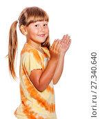 Купить «girl clapping hands», фото № 27340640, снято 27 июня 2010 г. (c) Ольга Сапегина / Фотобанк Лори