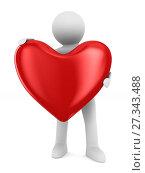 Купить «Man and heart on white background. Isolated 3D illustration», иллюстрация № 27343488 (c) Ильин Сергей / Фотобанк Лори