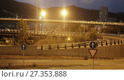 Купить «View of city highway in dusk with trace of blurred red automobile headlights beams», видеоролик № 27353888, снято 11 августа 2017 г. (c) Яков Филимонов / Фотобанк Лори